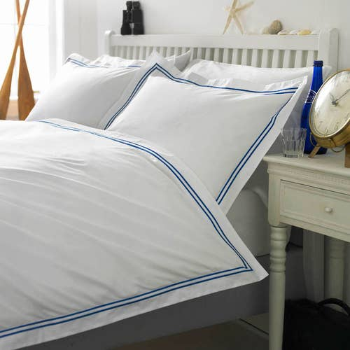 2 Row Cord Boutique Egyptian 400 Thread Cotton Percale - Royal Blue Cording -Duvet Cover