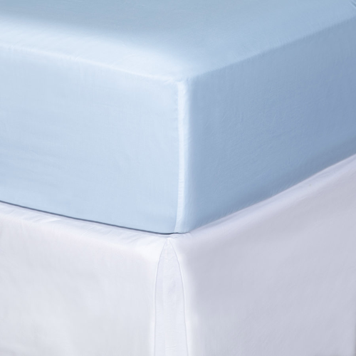 Pelle d'uovo 300 Thread Cotton Sateen - Sky Blue - Fitted Sheet