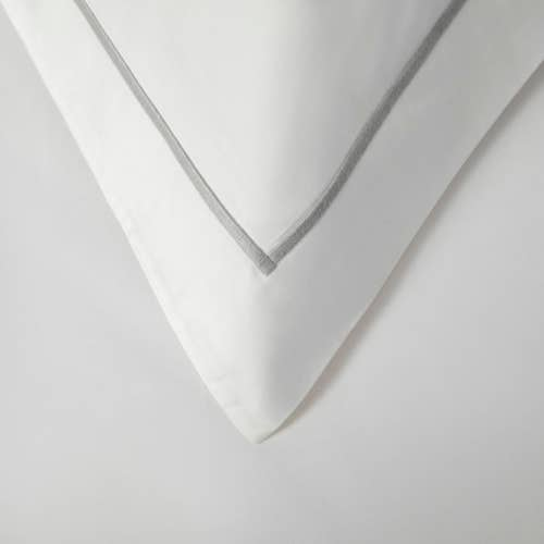 Amalfi Egyptian 600 Thread Cotton Sateen with Grey Cord - Pillowcase