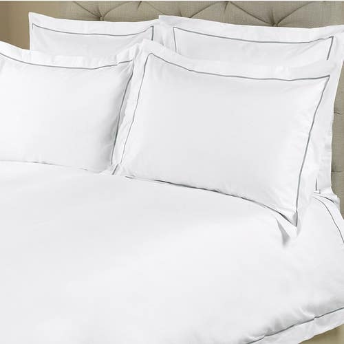 Amalfi Egyptian 600 Thread Cotton Sateen with Grey Cord - Duvet Cover