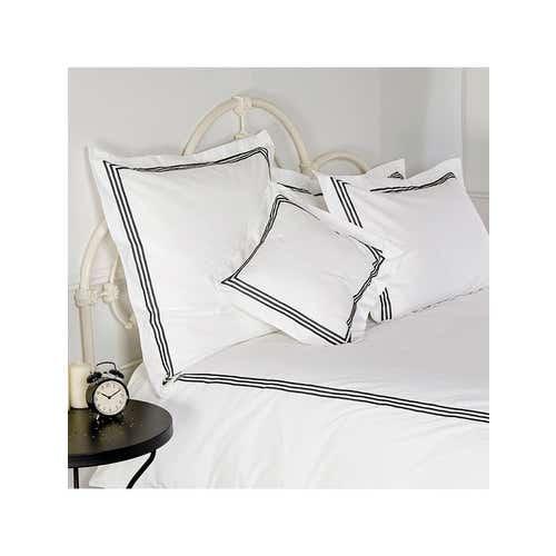 Milano Egyptian 800 Thread Cotton - White with Black Three Row Cord - Duvet Cover