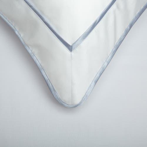 Monaco Egyptian 550 Thread Cotton Sateen - Platinum Blue trim - Framed Trim Cushion