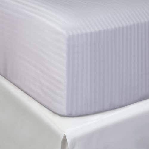 Egyptian 300 Thread Cotton Sateen Stripe - Fitted Sheet