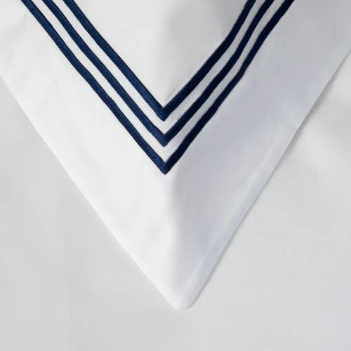 Milano Egyptian 800 Thread Cotton - White with Navy Blue Three Row Cord - Pillowcase