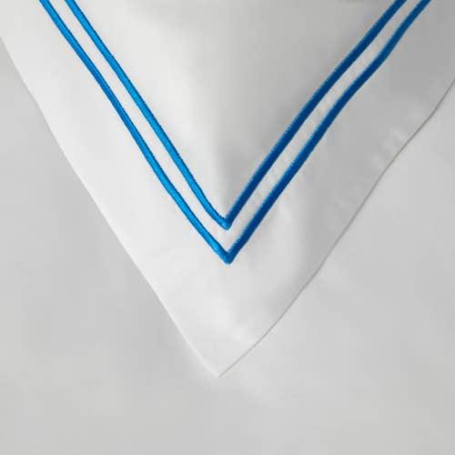 2 Row Cord Boutique Egyptian 400 Thread Cotton Percale - Royal Blue Cording - Pillowcase