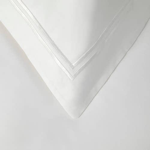 2 Row Cord Boutique Egyptian 400 Thread Cotton Percale - White Cording - Pillowcase