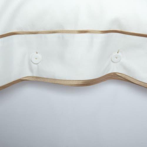 Monaco Egyptian 550 Thread Cotton Sateen - Mink trim - Cushion with Buttons