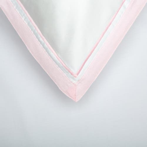 Bologne 300 Thread Pure Cotton Sateen - White with Pink Trim - Pillowcase