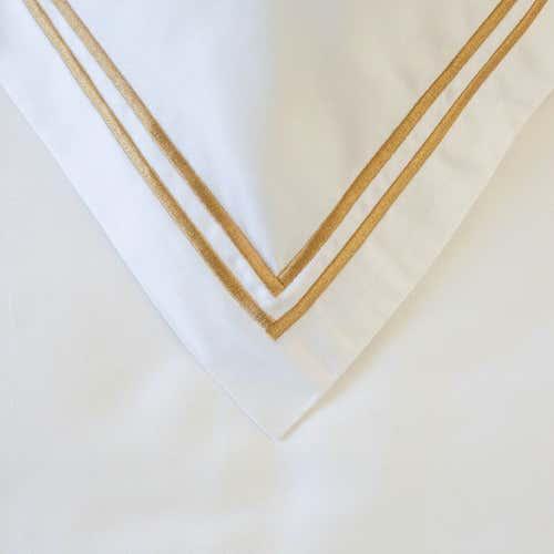 PIMA 750 Thread Cotton Sateen with 2 row Gold Cord - Cushion Cover