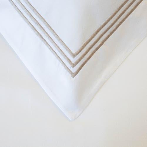 Milano Egyptian 800 Thread Cotton - White with Mink Three Row Cord - Pillowcase