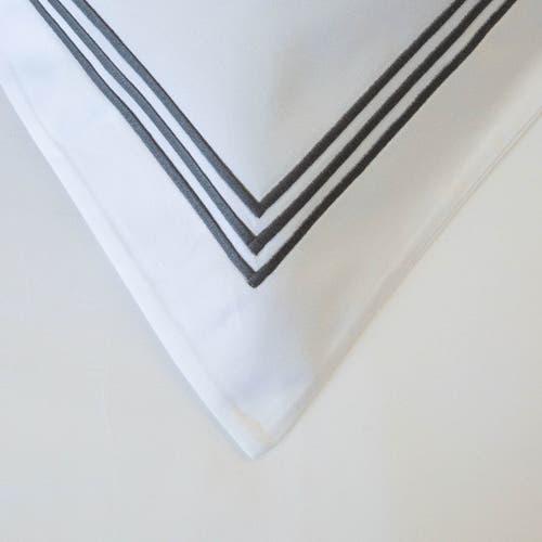 Milano Egyptian 800 Thread Cotton - White with Dark Grey Three Row Cord - Pillowcase