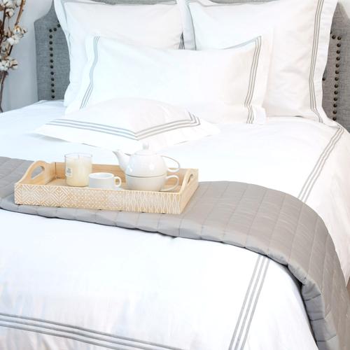 Milano Egyptian 800 Thread Cotton - White with Light Grey Three Row Cord - Duvet Cover