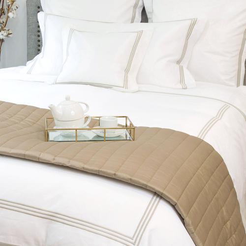 Milano Egyptian 800 Thread Cotton - White with Mink Three Row Cord - Duvet Cover