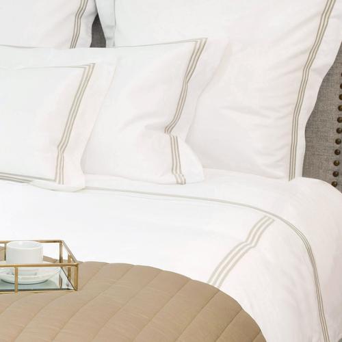 Milano Egyptian 800 Thread Cotton - White with Mink Three Row Cord - Flat Sheet