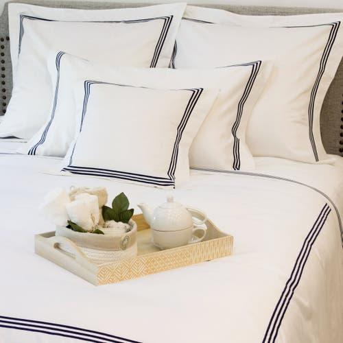 Milano Egyptian 800 Thread Cotton - White with Navy Blue Three Row Cord - Duvet Cover