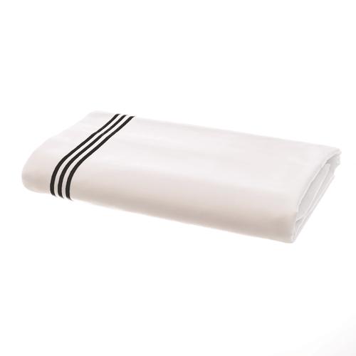 Milano Egyptian 800 Thread Cotton - White with Black Three Row Cord - Flat Sheet