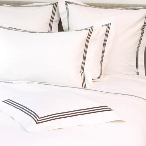 Milano Egyptian 800 Thread Cotton - White with Dark Grey Three Row Cord - Duvet Cover