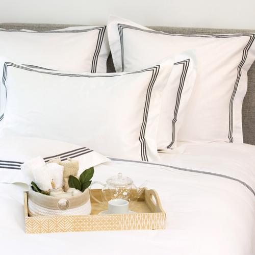 Milano Egyptian 800 Thread Cotton - White with Dark Grey Three Row Cord - Flat Sheet