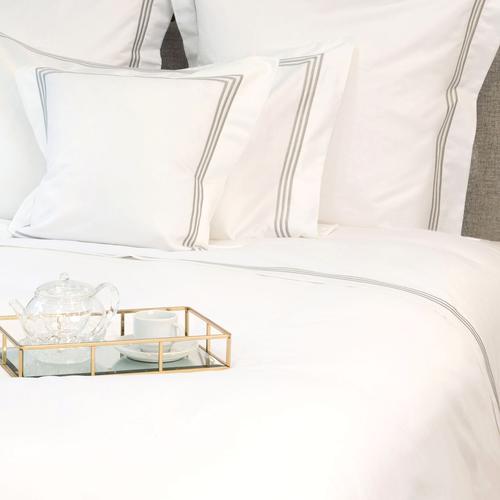 Milano Egyptian 800 Thread Cotton - White with Light Grey Three Row Cord - Flat Sheet
