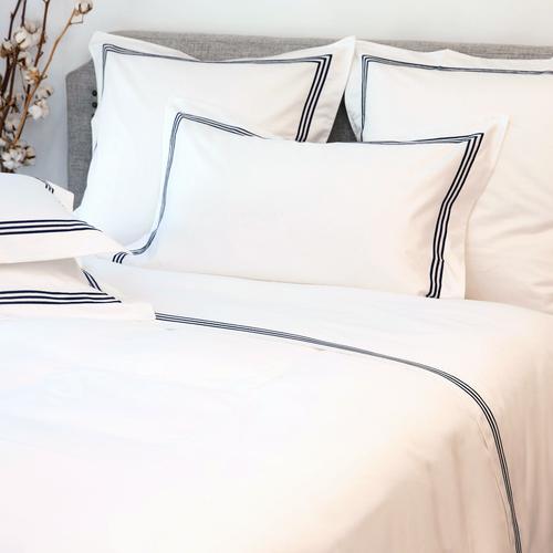 Milano Egyptian 800 Thread Cotton - White with Navy Blue Three Row Cord - Flat Sheet