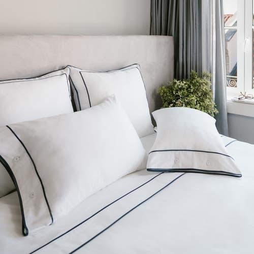 Monaco Egyptian 550 Thread Cotton Sateen - Anthracite Grey Trim - Flat Sheet with Trim