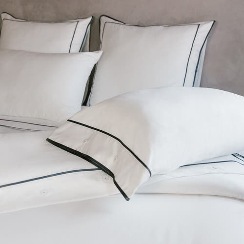 Monaco Egyptian 550 Thread Cotton Sateen - Anthracite Grey trim - Duvet Cover with Buttons
