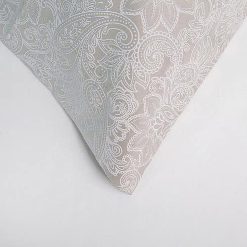 Paisley 300 Thread Pure Cotton Sateen - Silver - Pillowcase