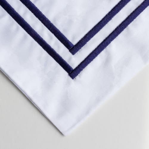 PIMA 750 Thread Cotton Sateen with 2 row Navy Cord - Pillowcase