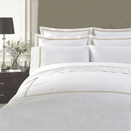 PIMA 750 Thread Cotton Sateen with 2 row Gold Cord - Duvet Cover